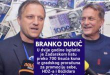 Photo of Branko Dukić isplatio je preko 750 tisuća kuna iz proračuna Zadarskom listu kako bi pisali afirmativno o njemu i Božidaru Kalmeti